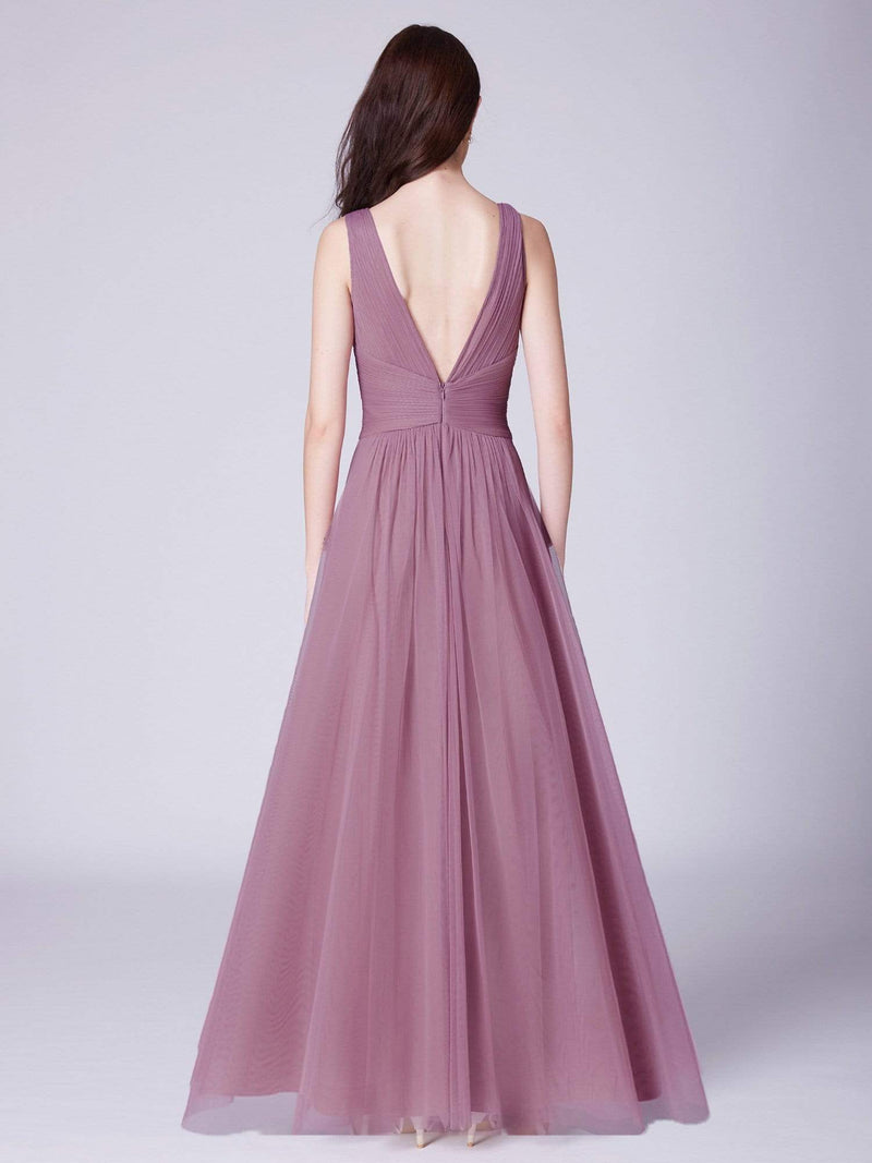 V Neck Ruched Waist Long Formal Dress-Purple Orchid 4