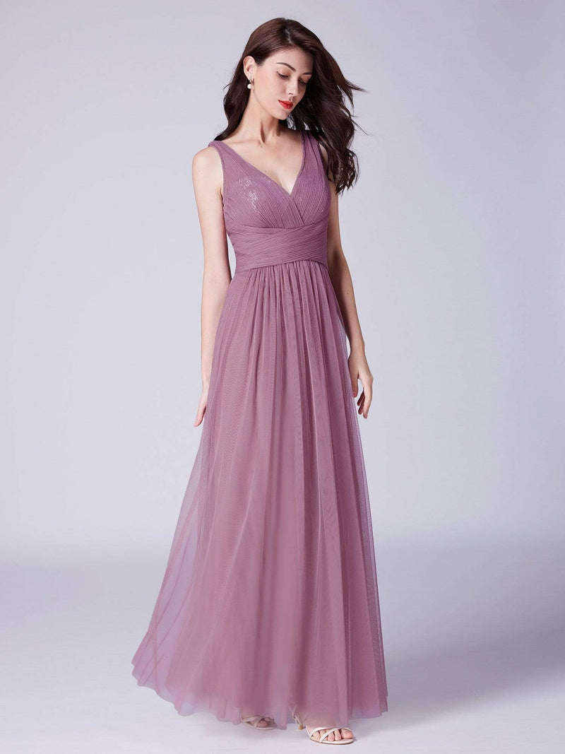 V Neck Ruched Waist Long Formal Dress-Purple Orchid 2