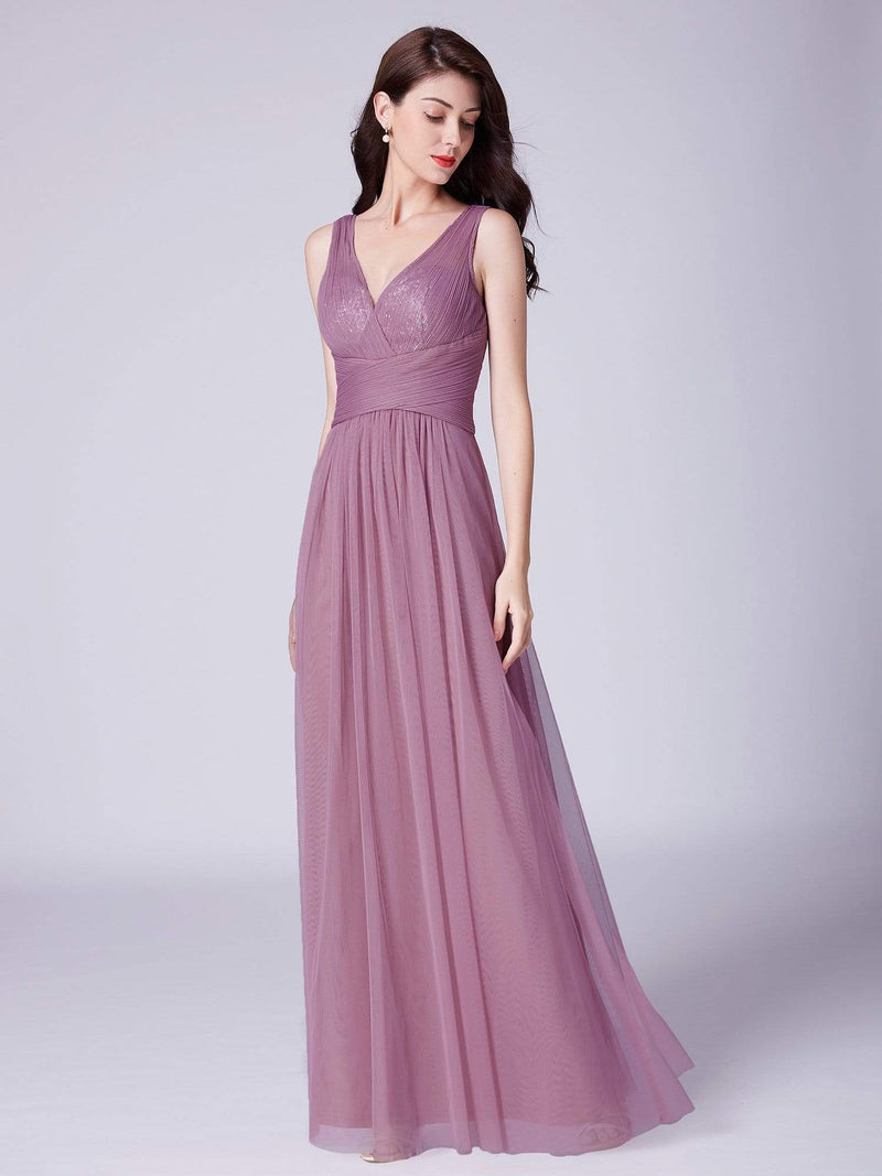 V Neck Ruched Waist Long Formal Dress-Purple Orchid 3
