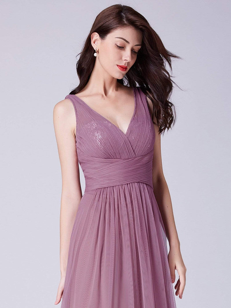 V Neck Ruched Waist Long Formal Dress-Purple Orchid 5
