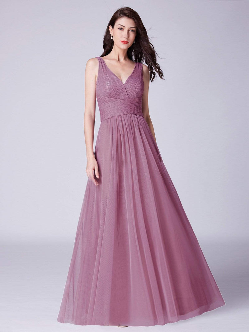 V Neck Ruched Waist Long Formal Dress-Purple Orchid 1