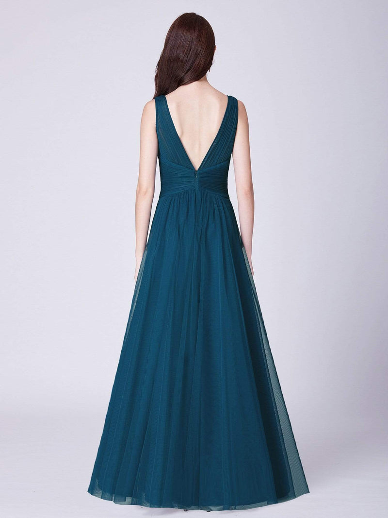 V Neck Ruched Waist Long Formal Dress-Teal 2