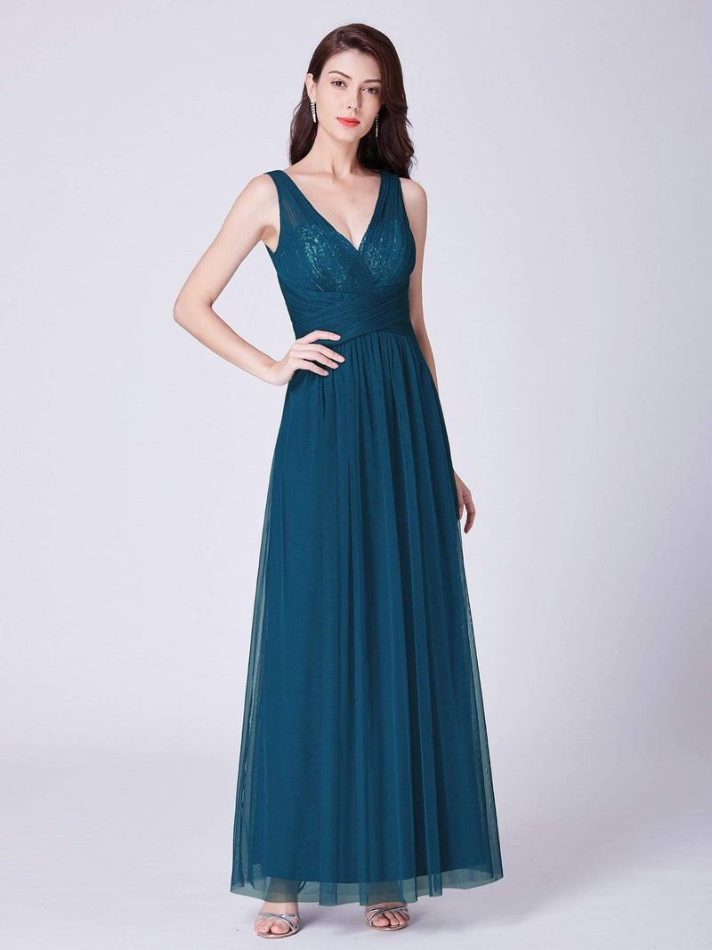 V Neck Ruched Waist Long Formal Dress-Teal 3