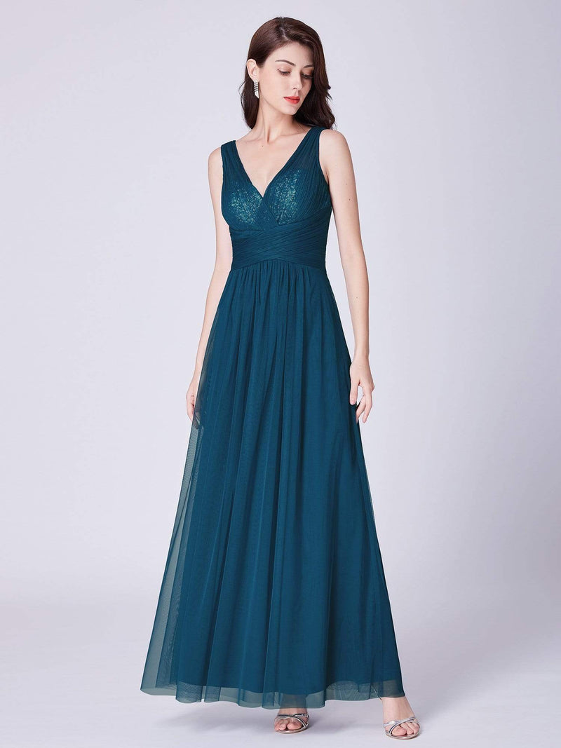 V Neck Ruched Waist Long Formal Dress-Teal 4