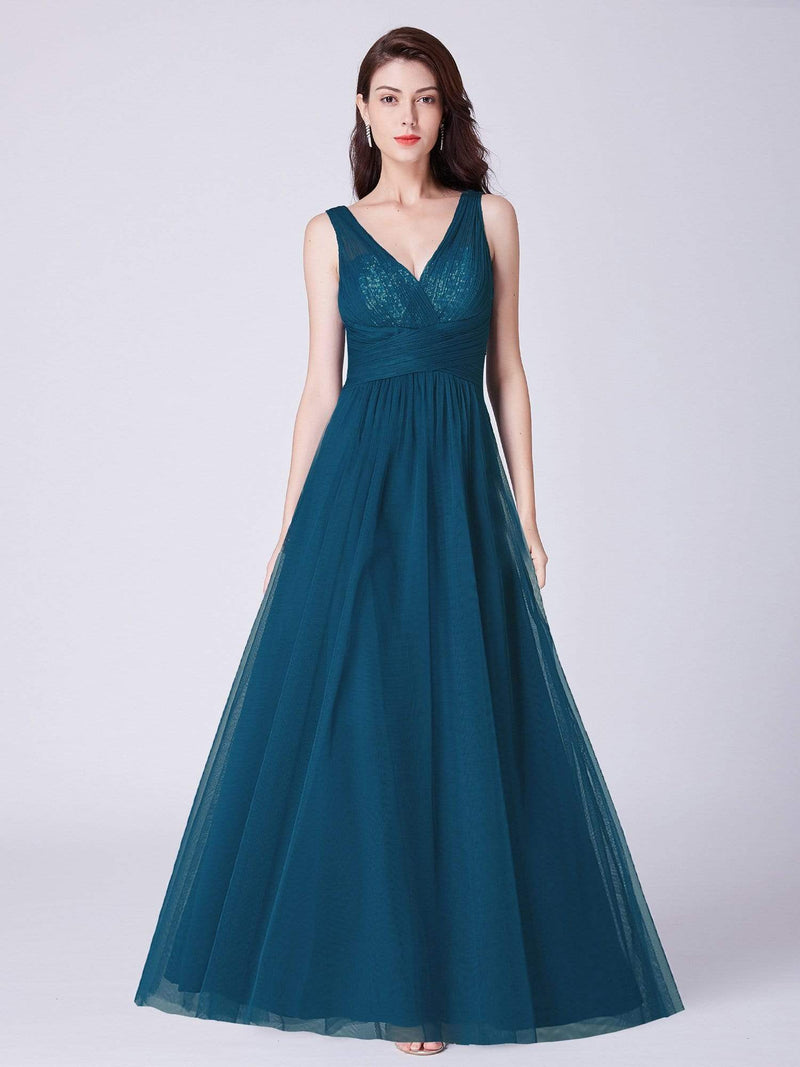 V Neck Ruched Waist Long Formal Dress-Teal 1