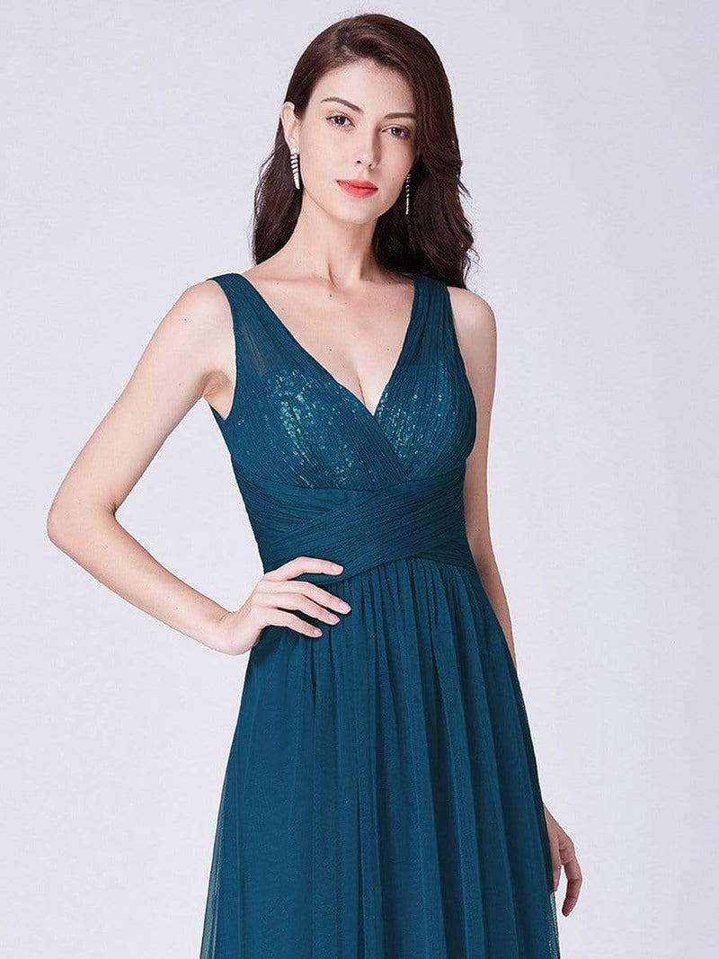 V Neck Ruched Waist Long Formal Dress-Teal 6