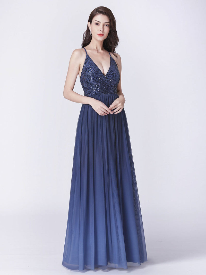 Long Ombre Prom Dress With Sequin Bust-Navy Blue 7