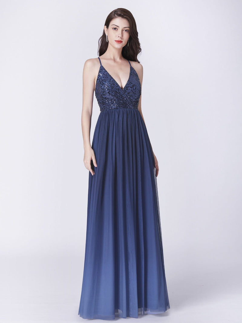 Long Ombre Prom Dress With Sequin Bust-Navy Blue 5