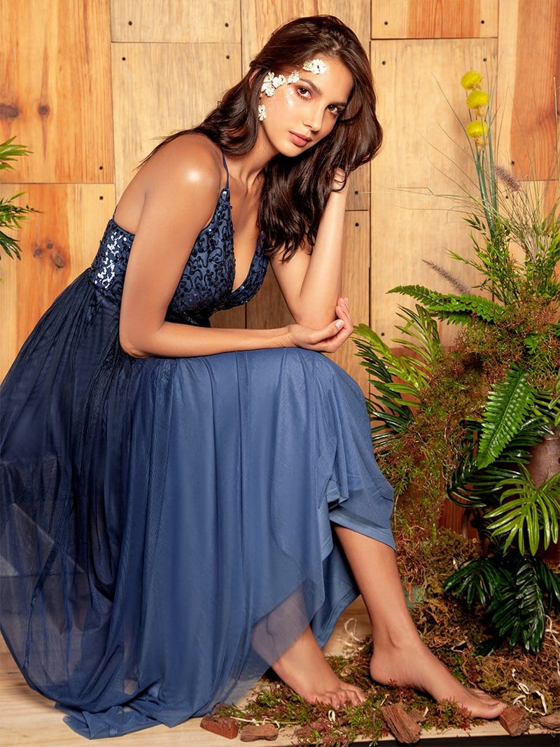 Long Ombre Prom Dress With Sequin Bust-Navy Blue 2