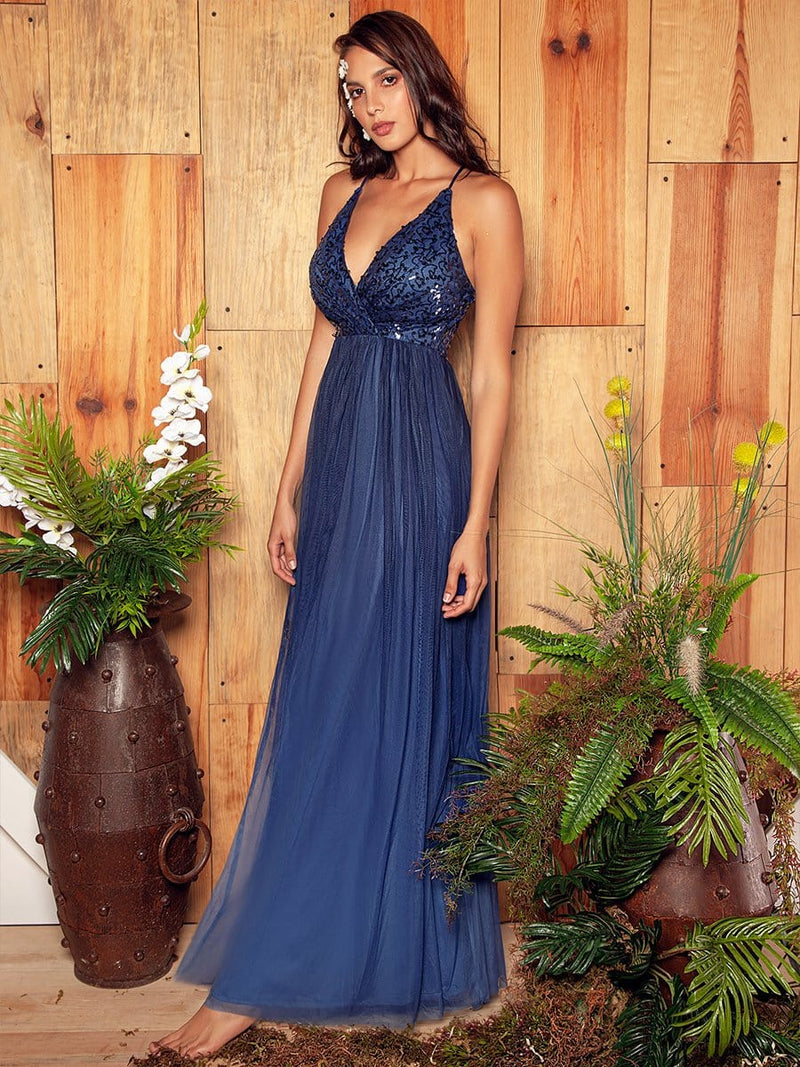 Long Ombre Prom Dress With Sequin Bust-Navy Blue 1