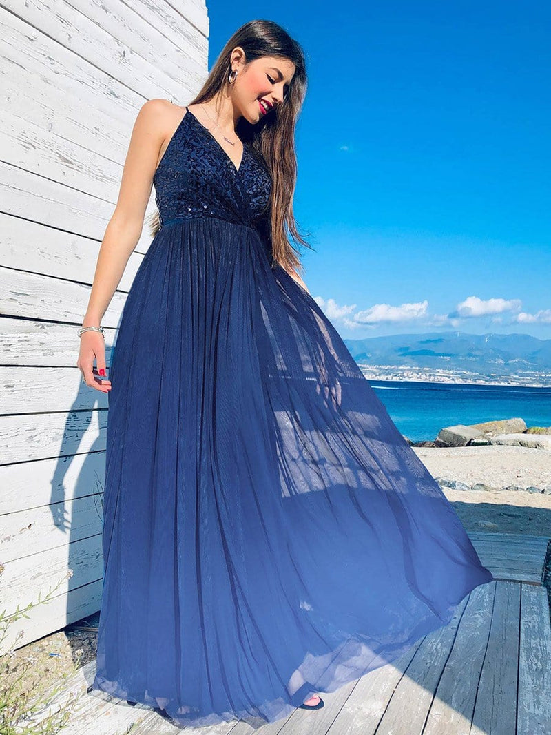 Long Ombre Prom Dress With Sequin Bust-Navy Blue 3