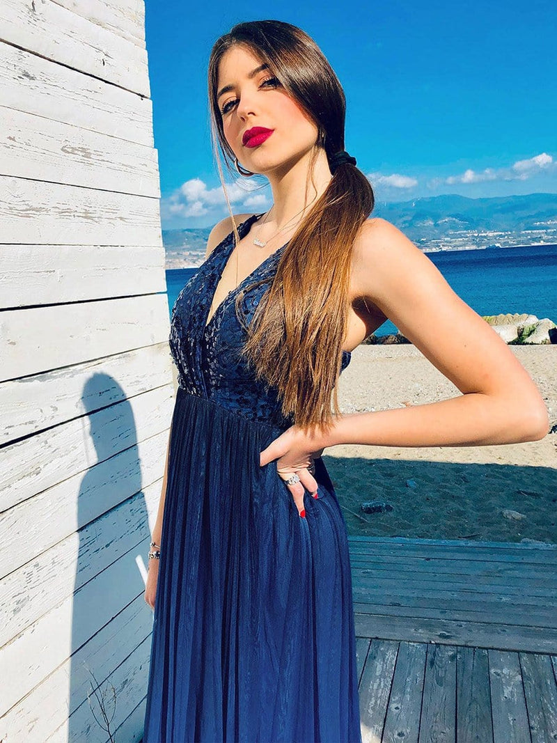Long Ombre Prom Dress With Sequin Bust-Navy Blue 4