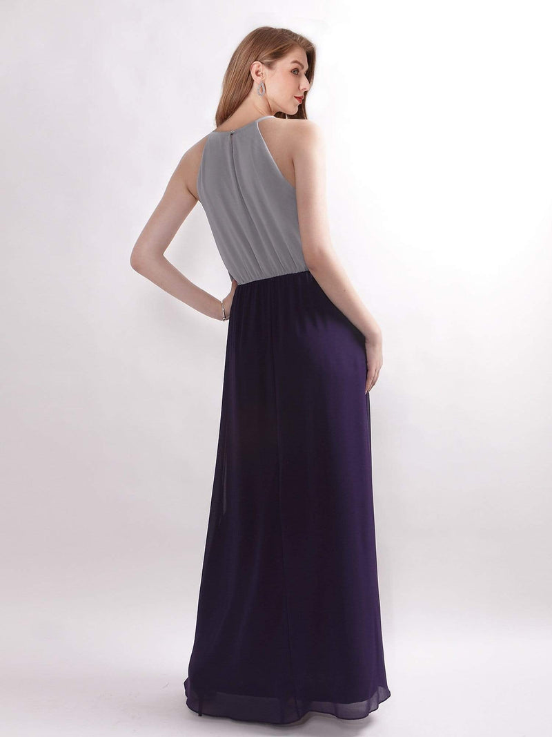 Casual Halter Color Block Maxi Dress-Grey 3