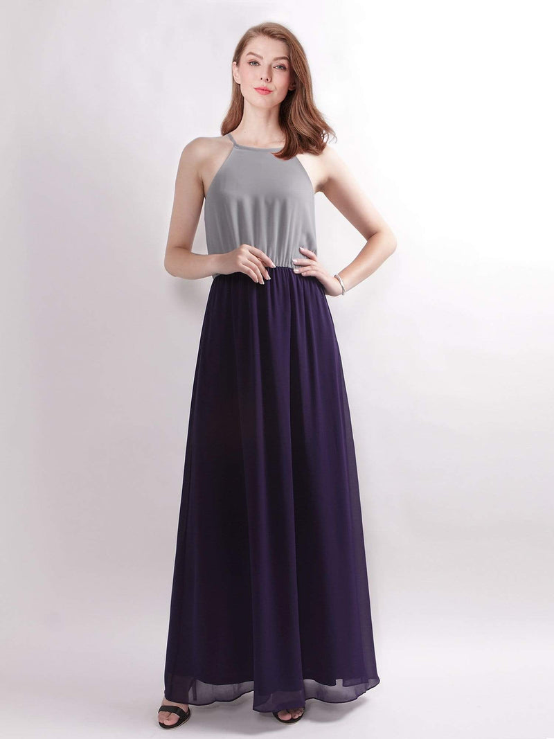 Casual Halter Color Block Maxi Dress-Grey 1