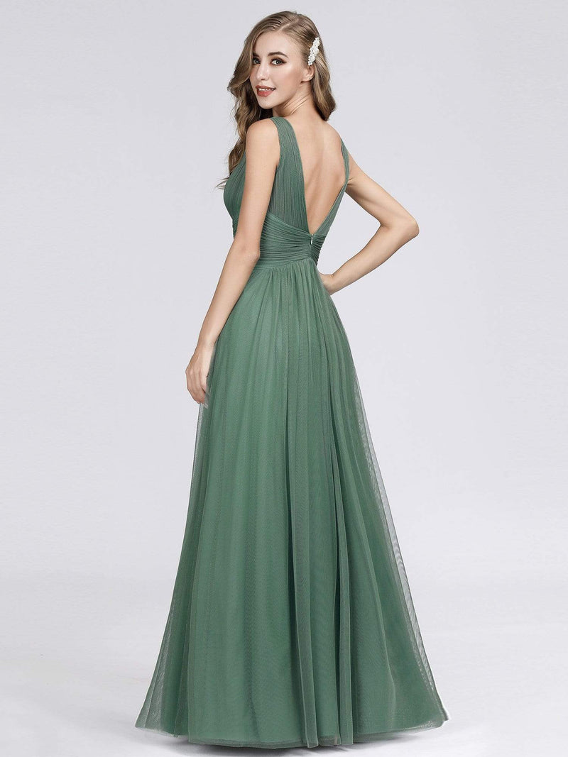 Long Evening Dress With Ruched Bust & V Neck-Green Bean 5