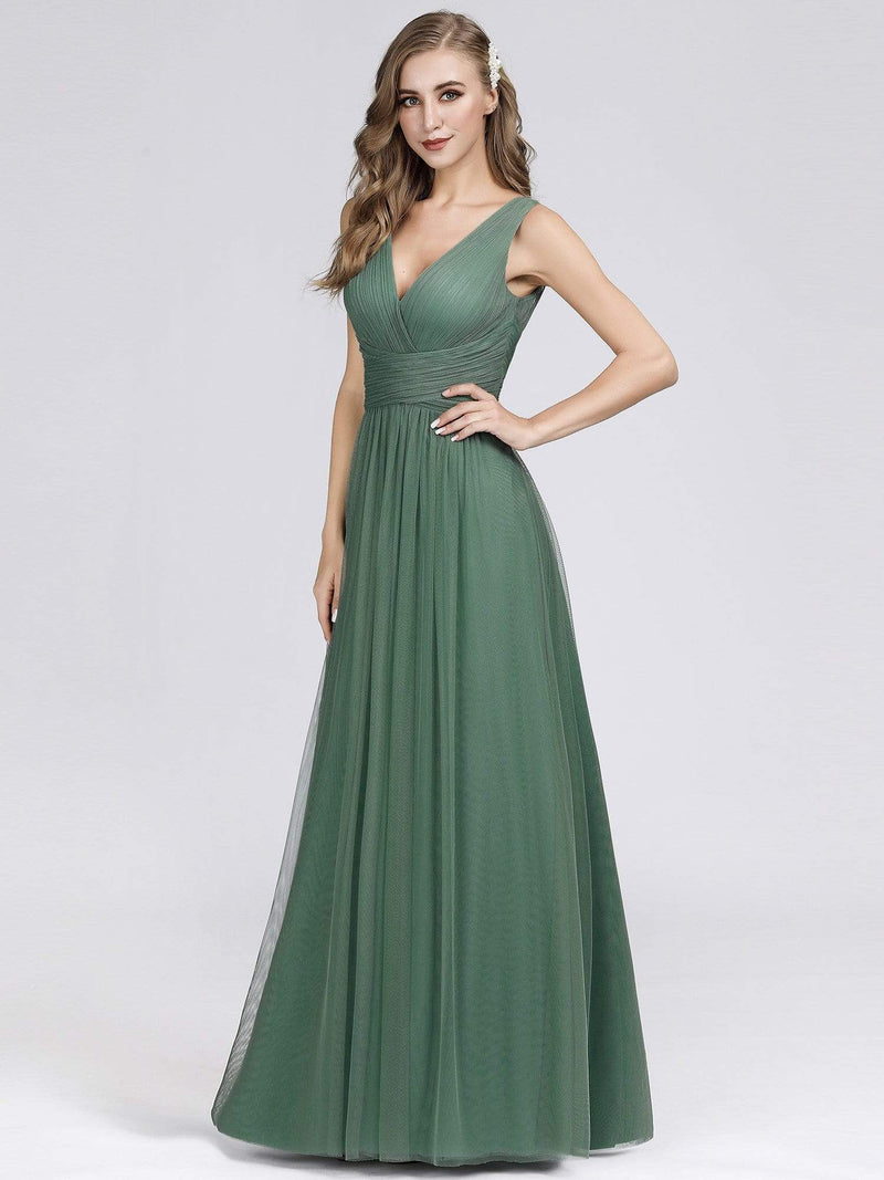 Long Evening Dress With Ruched Bust & V Neck-Green Bean 2
