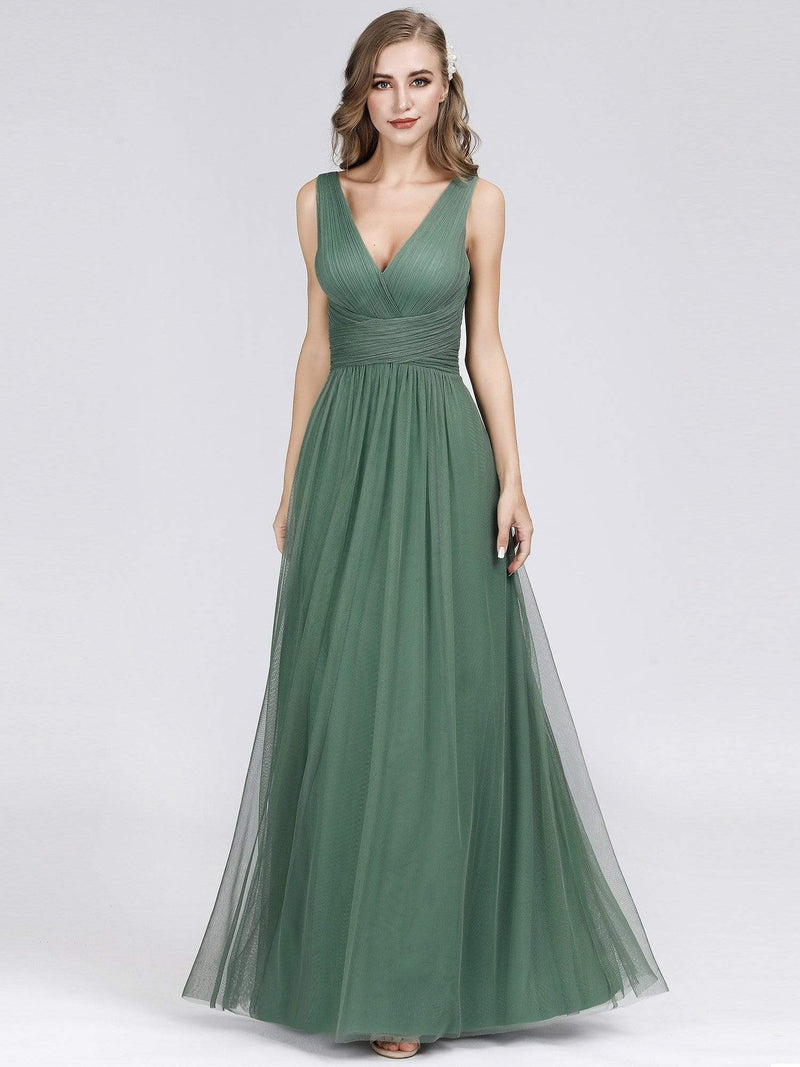 Long Evening Dress With Ruched Bust & V Neck-Green Bean 3