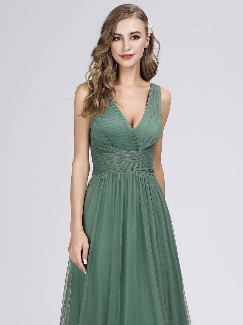 Long Evening Dress With Ruched Bust & V Neck-Green Bean 4