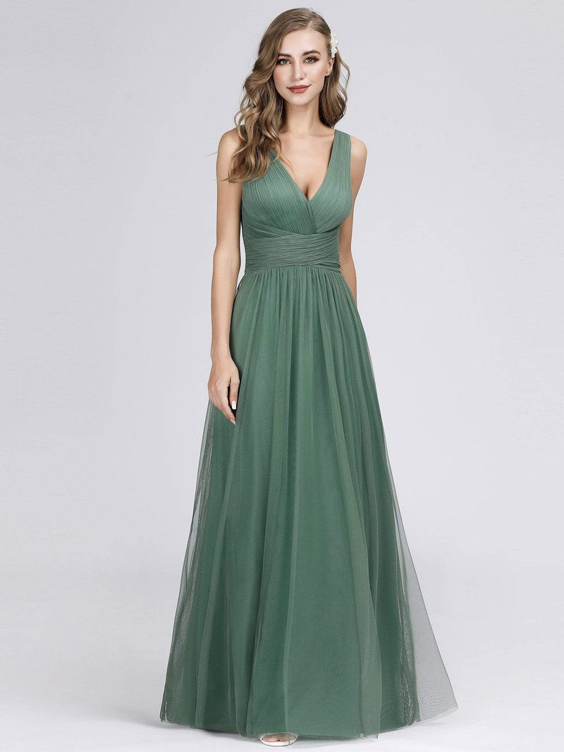 Long Evening Dress With Ruched Bust & V Neck-Green Bean 6