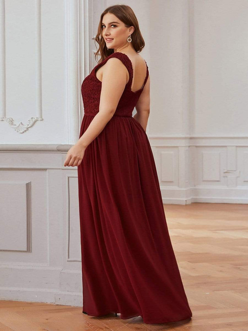 Long Chiffon Evening Dress With Lace Bodice & V Neck-Burgundy 7