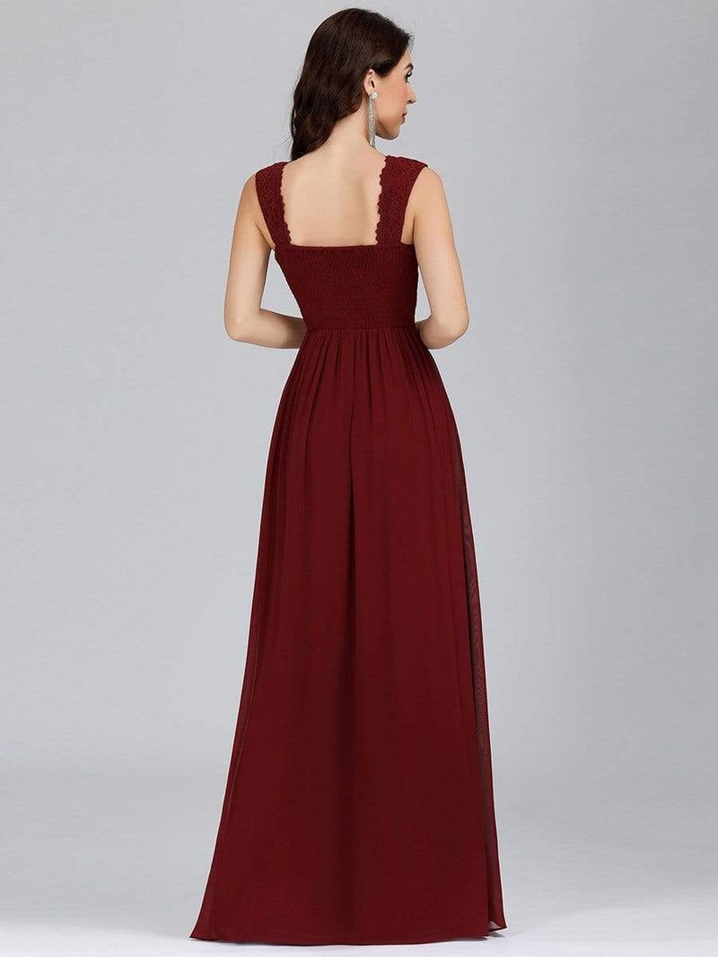 Long Chiffon Evening Dress With Lace Bodice & V Neck-Burgundy 2