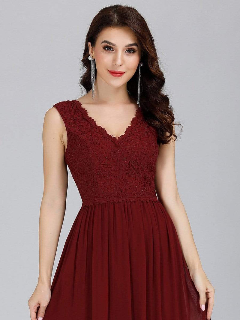 Long Chiffon Evening Dress With Lace Bodice & V Neck-Burgundy 5