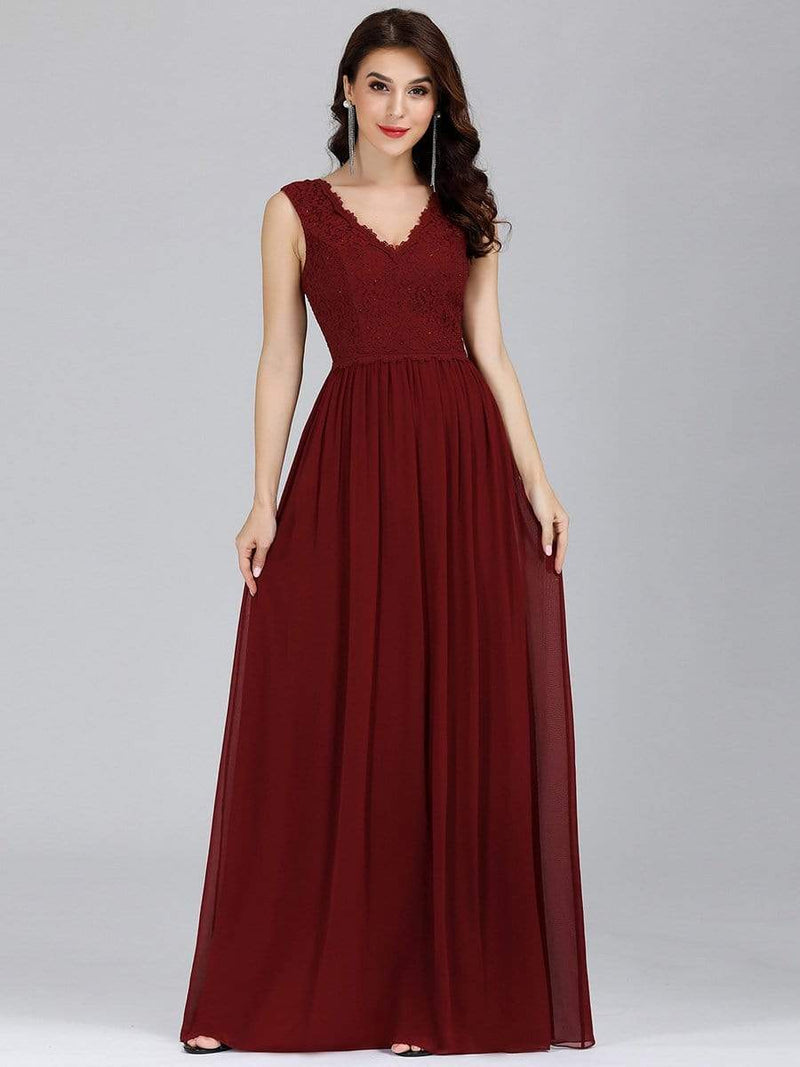 Long Chiffon Evening Dress With Lace Bodice & V Neck-Burgundy 1