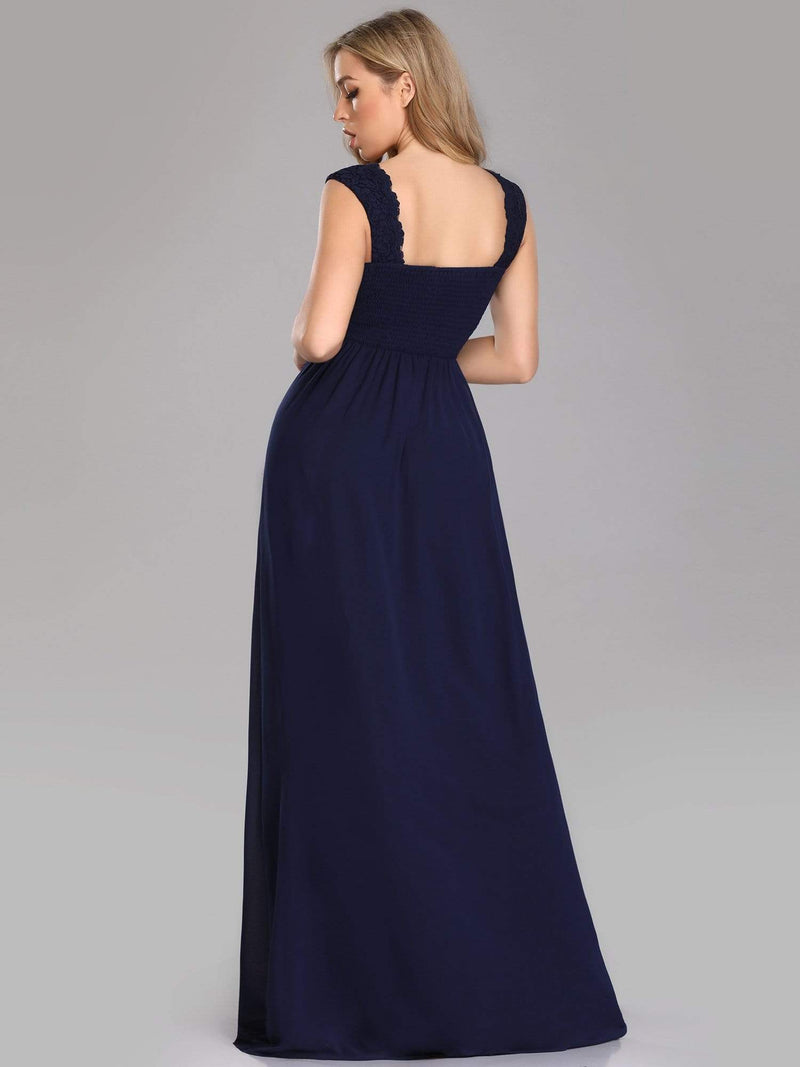 Long Chiffon Evening Dress With Lace Bodice & V Neck-Navy Blue 2
