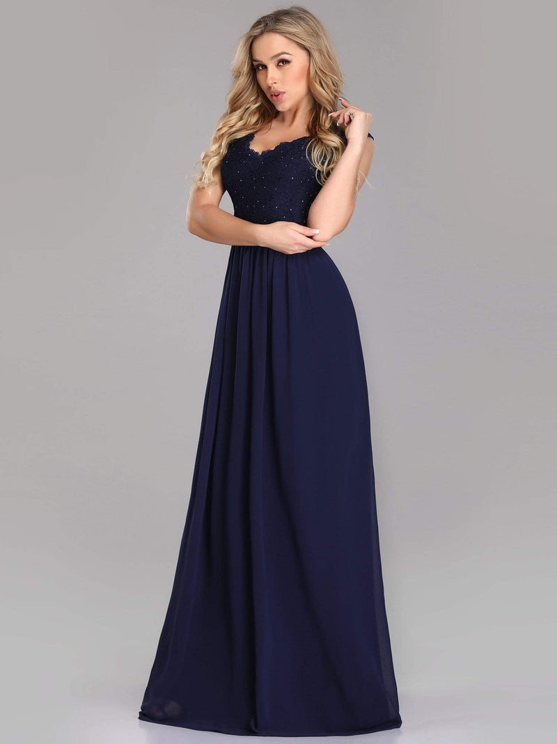 Long Chiffon Evening Dress With Lace Bodice & V Neck-Navy Blue 3