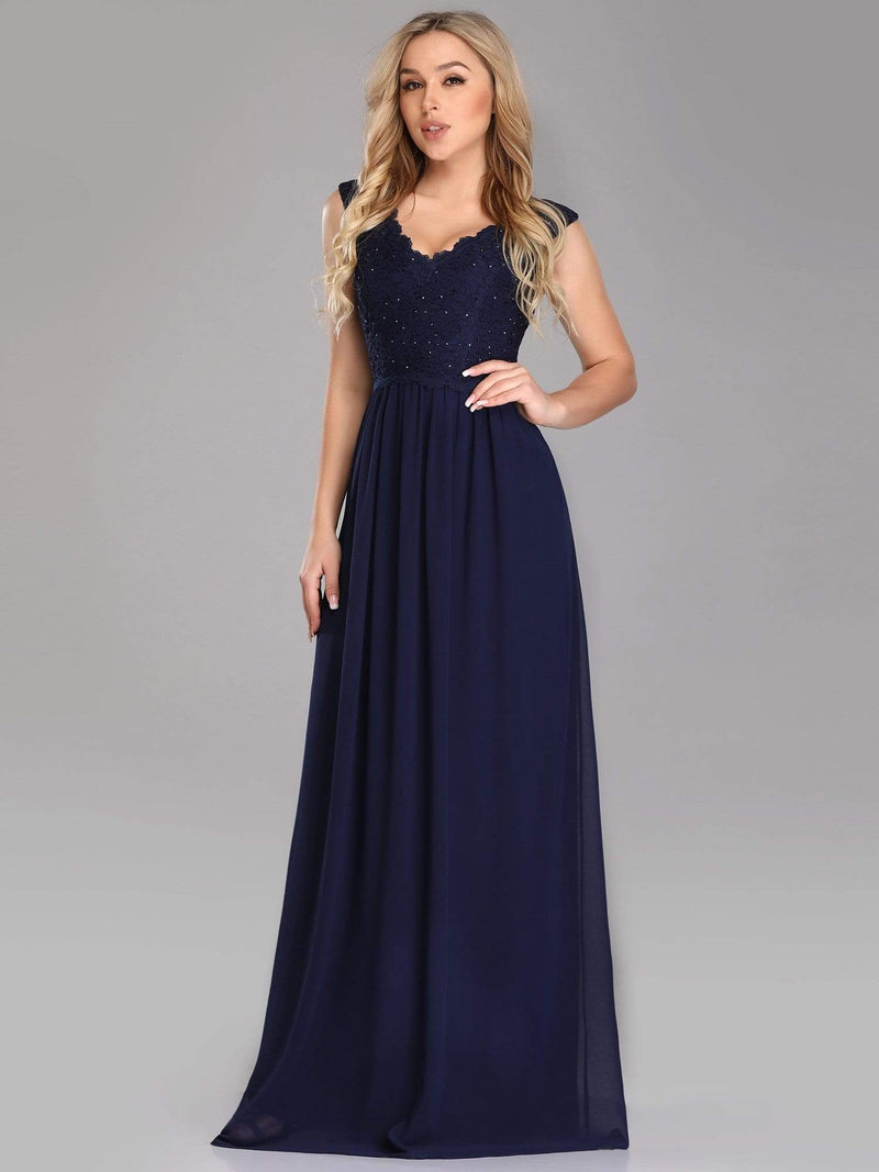 Long Chiffon Evening Dress With Lace Bodice & V Neck-Navy Blue 4