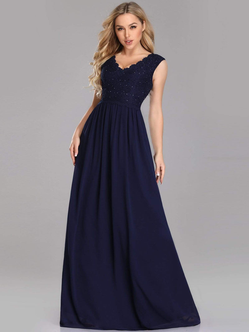 Long Chiffon Evening Dress With Lace Bodice & V Neck-Navy Blue 1