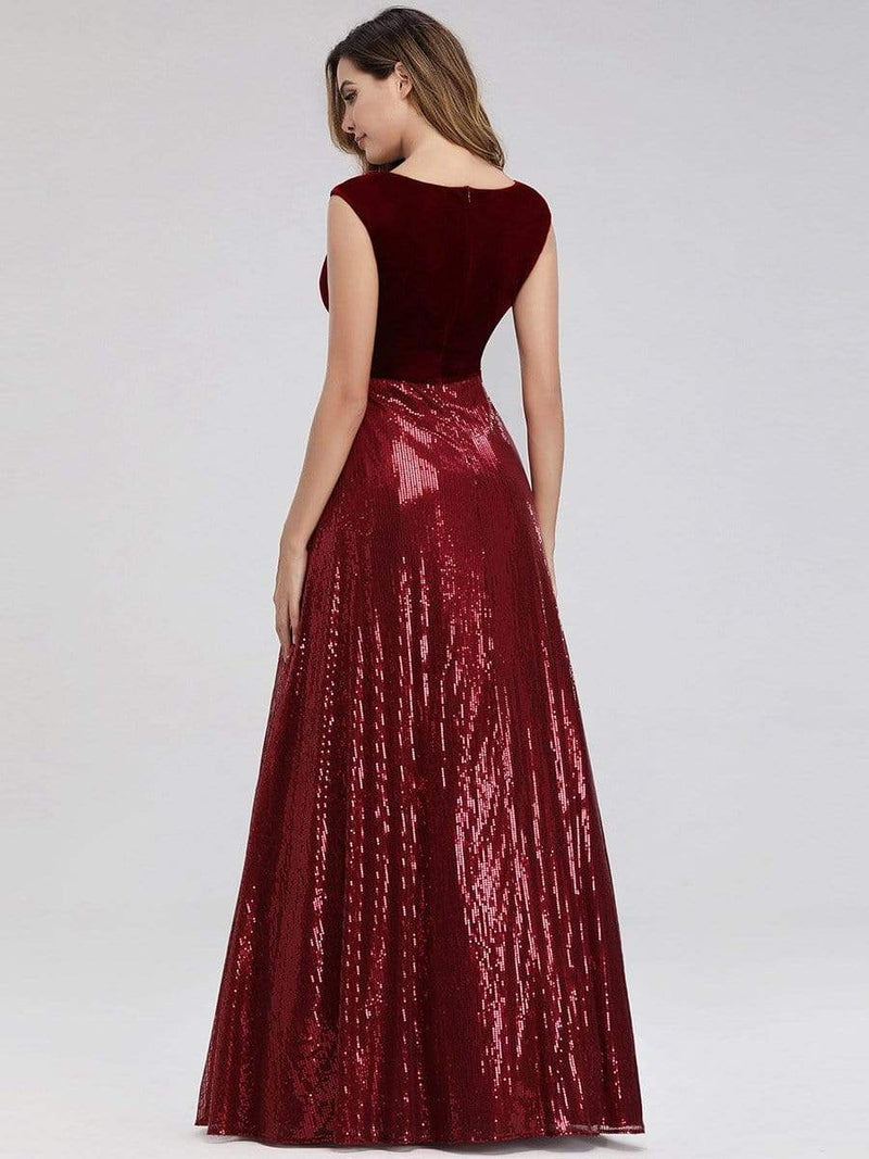 Floor Length Velvet And Sequin Evening Dress-Burgundy 3