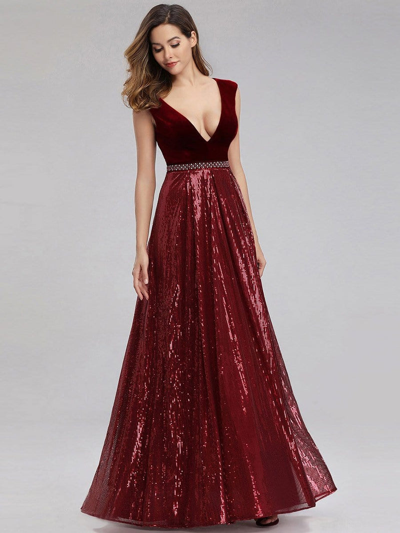 Floor Length Velvet And Sequin Evening Dress-Burgundy 5