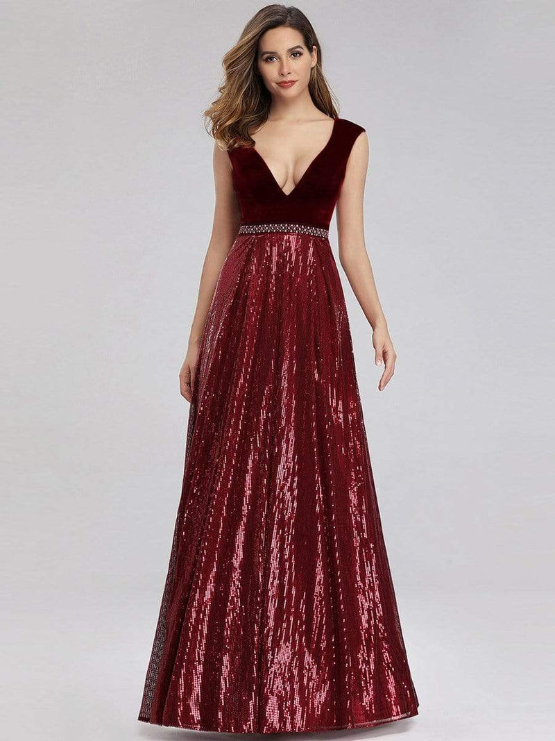 Floor Length Velvet And Sequin Evening Dress-Burgundy 2