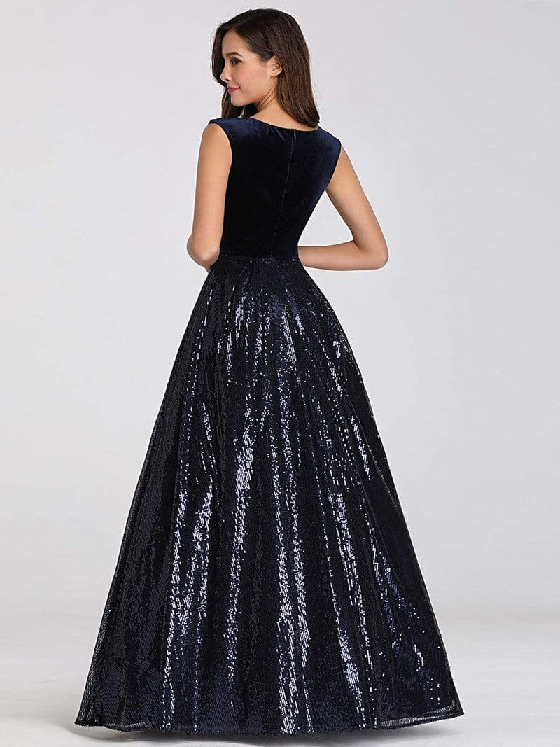 Floor Length Velvet And Sequin Evening Dress-Navy Blue 12