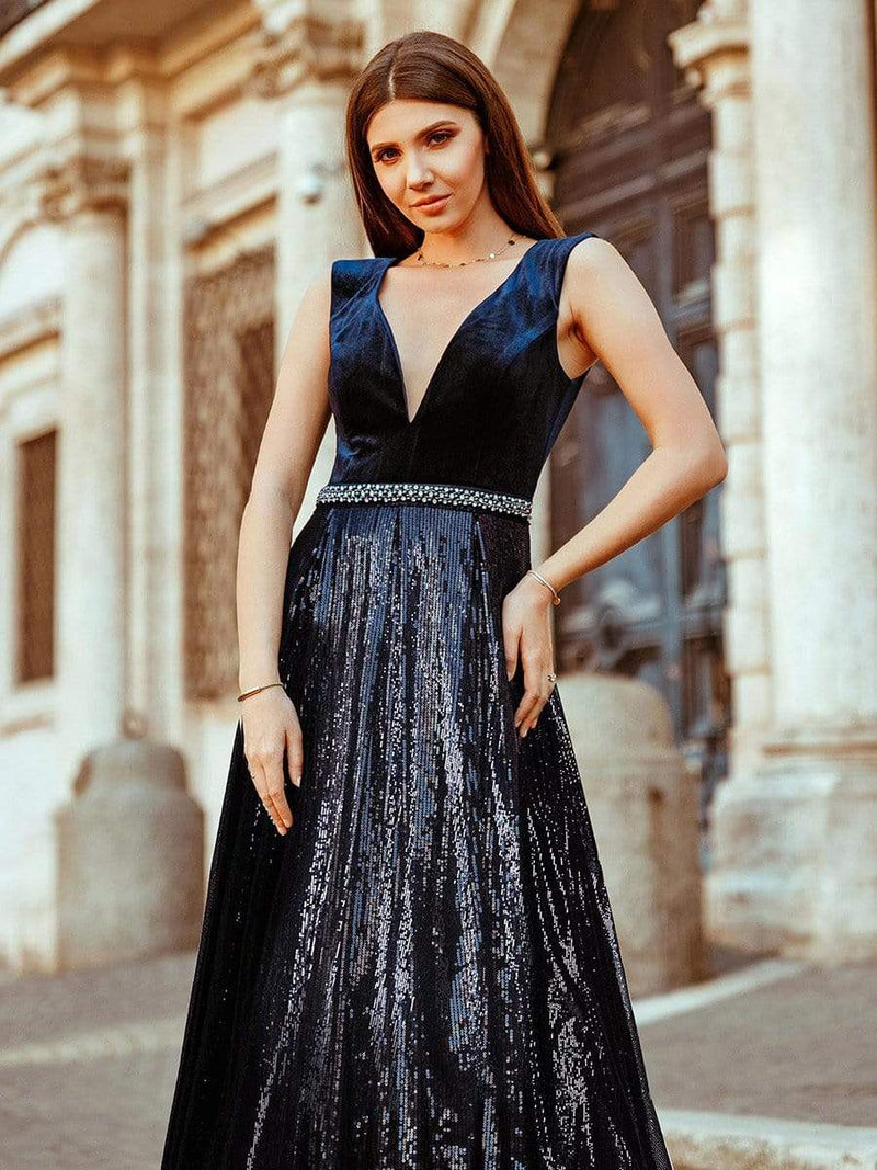Floor Length Velvet And Sequin Evening Dress-Navy Blue 1
