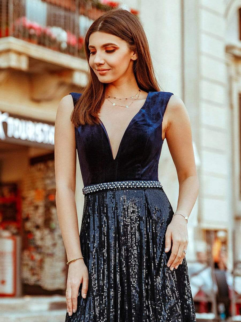 Floor Length Velvet And Sequin Evening Dress-Navy Blue 2