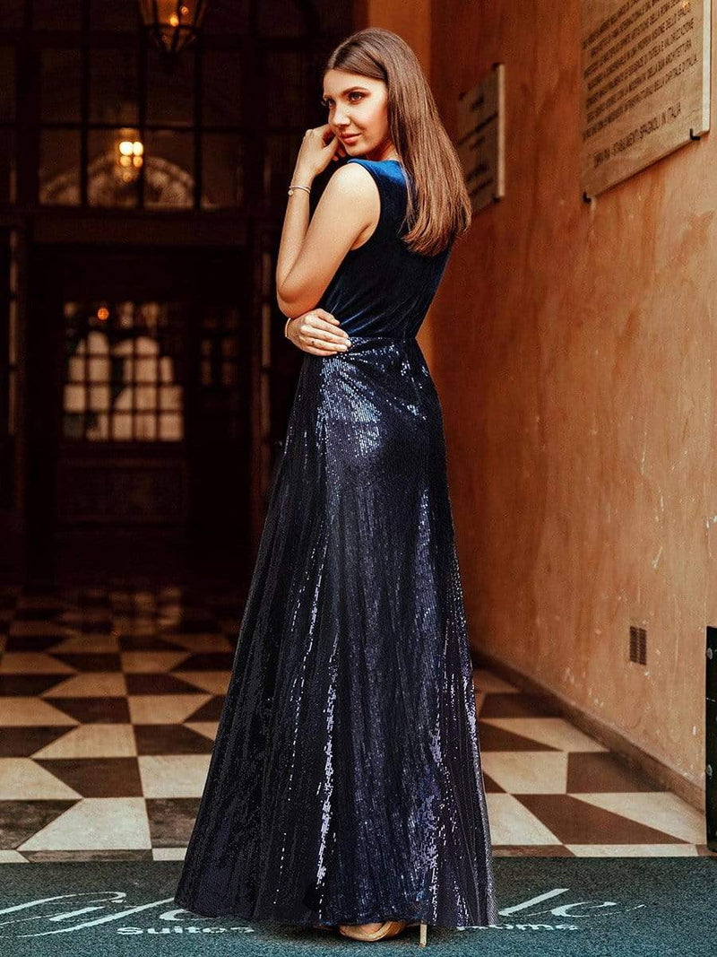 Floor Length Velvet And Sequin Evening Dress-Navy Blue 6