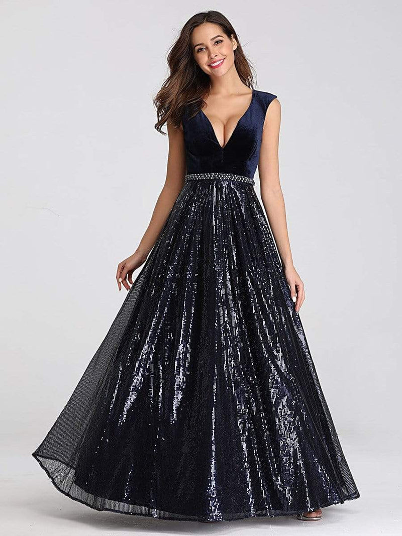 Floor Length Velvet And Sequin Evening Dress-Navy Blue 11