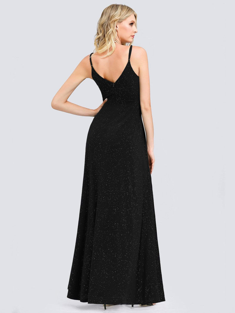 Shimmery Long V Neck Prom Dress With Slit-Black 2