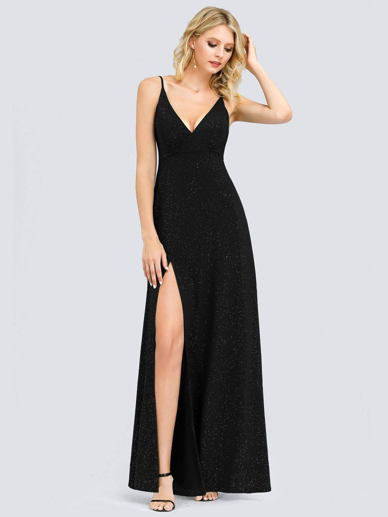 Shimmery Long V Neck Prom Dress With Slit-Black 3
