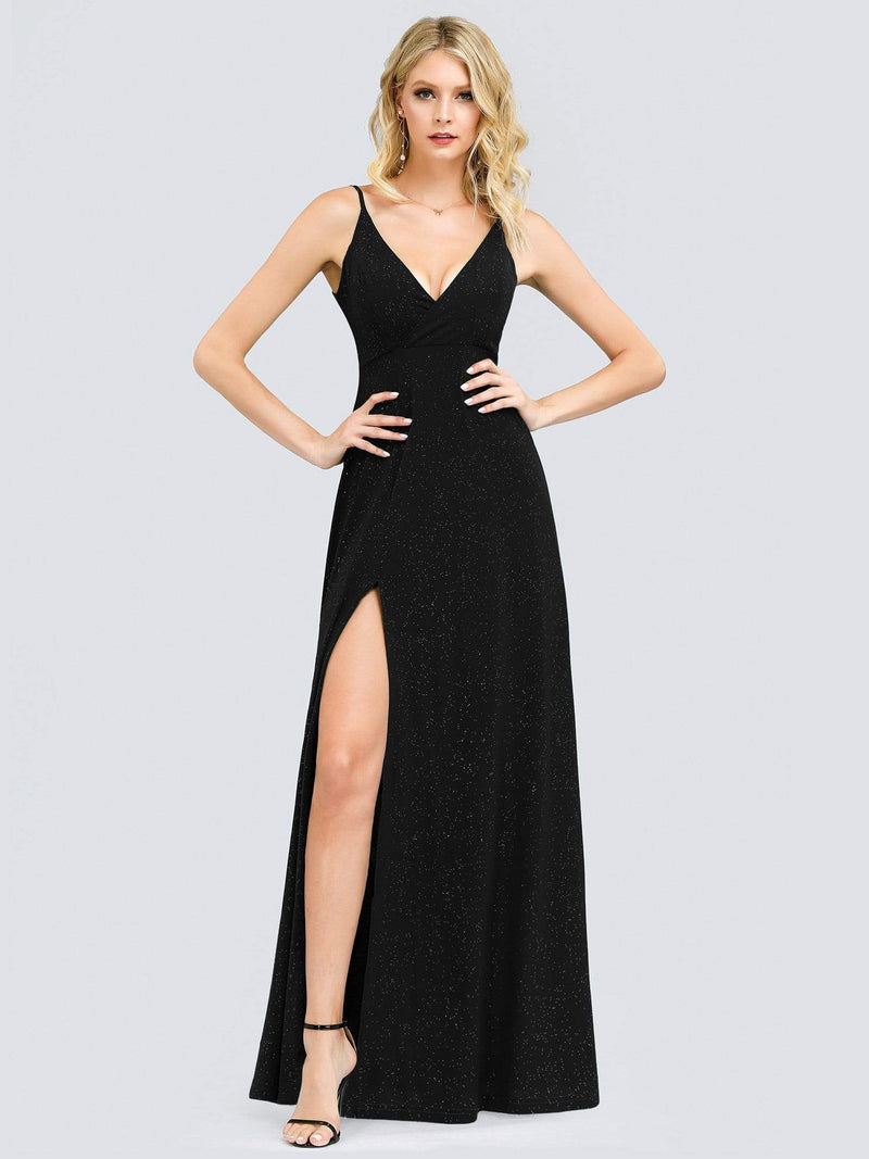 Shimmery Long V Neck Prom Dress With Slit-Black 4