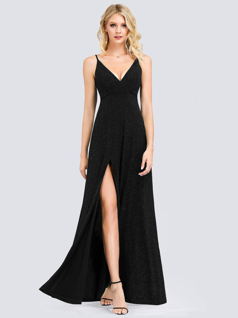 Shimmery Long V Neck Prom Dress With Slit-Black 1