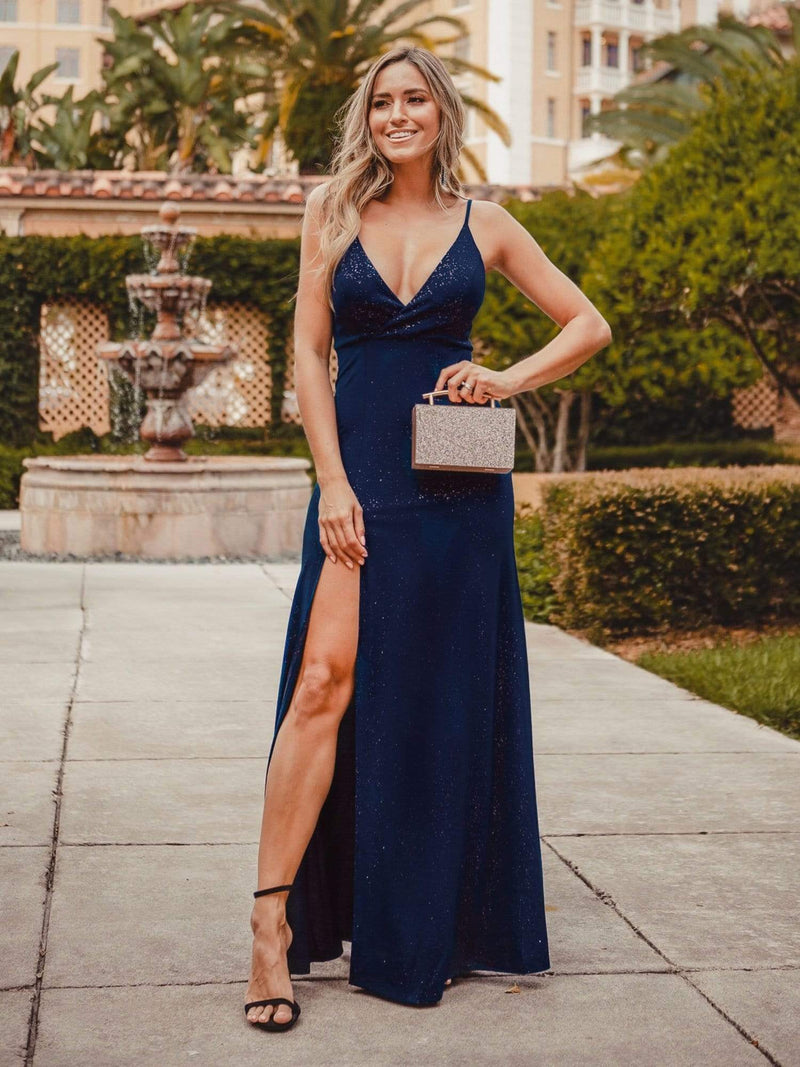 Shimmery Long V Neck Prom Dress With Slit-Navy Blue 1