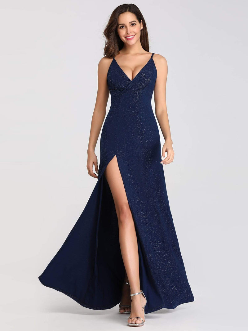Shimmery Long V Neck Prom Dress With Slit-Navy Blue 6