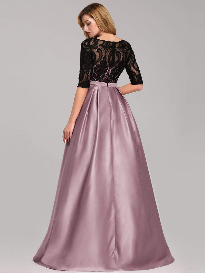 Women Lace Round Neck Formal Evening Dress-Mauve 6
