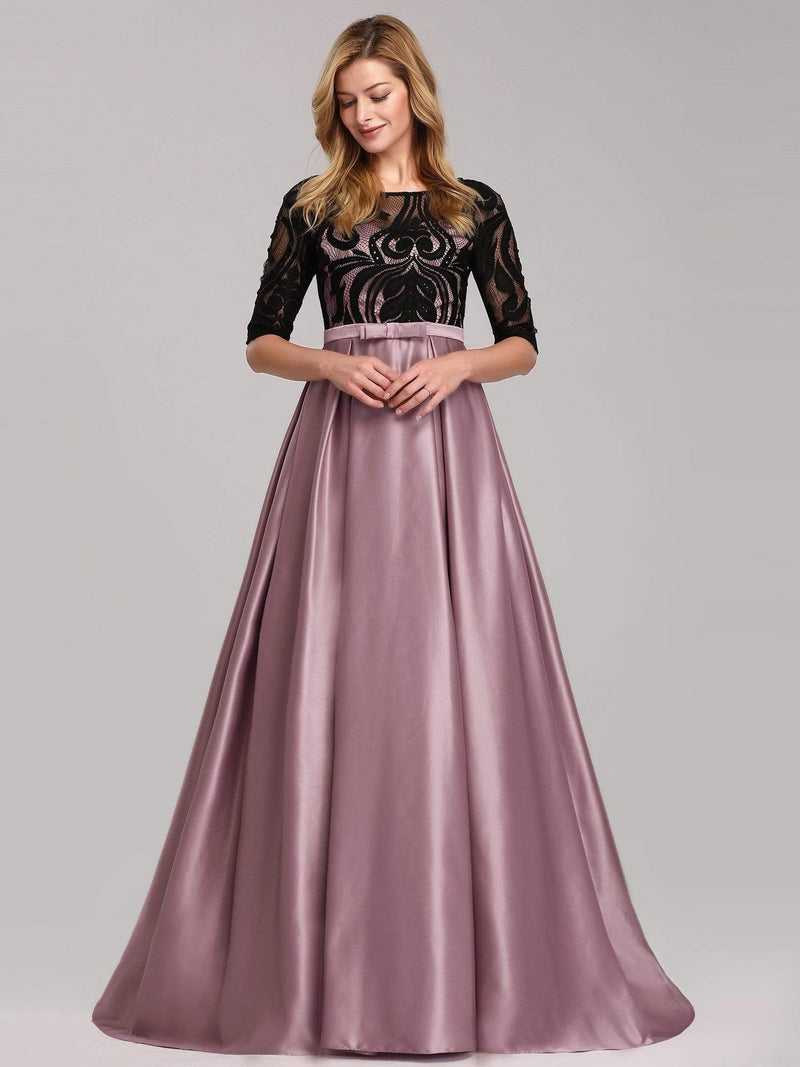 Women Lace Round Neck Formal Evening Dress-Mauve 4