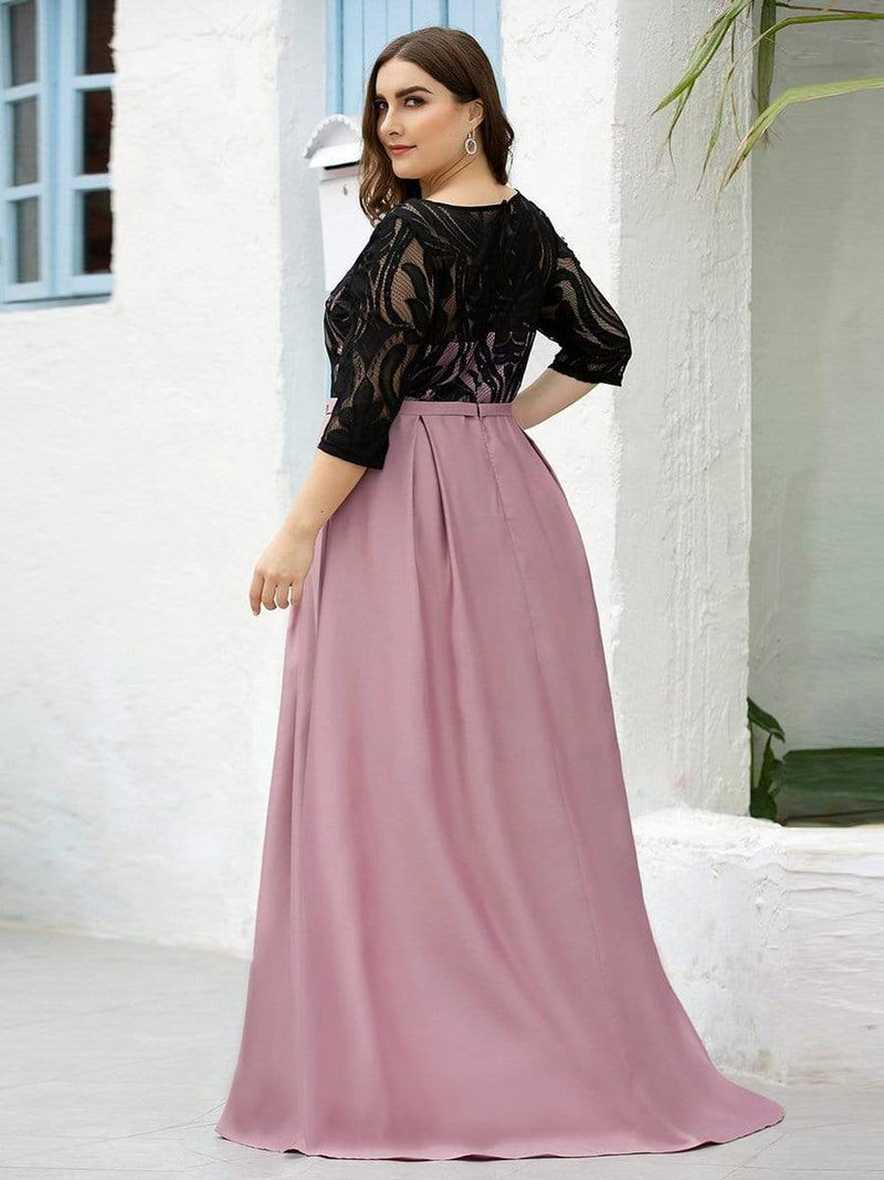 Women Lace Round Neck Formal Evening Dress-Mauve 9