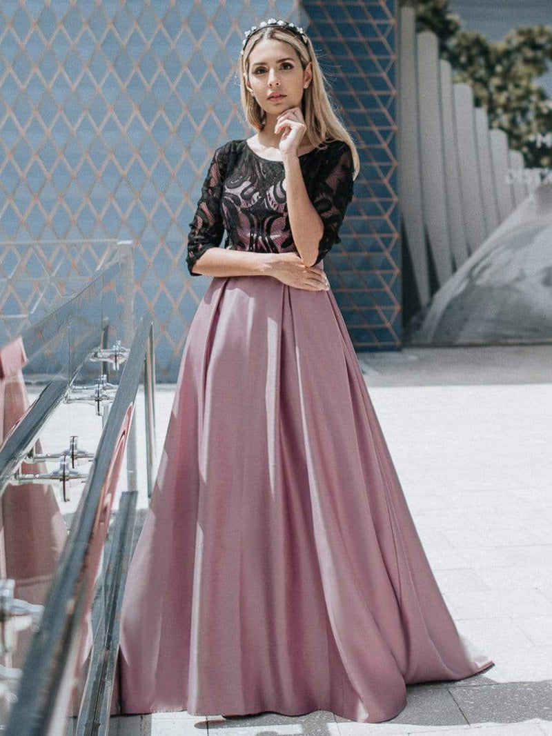 Women Lace Round Neck Formal Evening Dress-Mauve 1