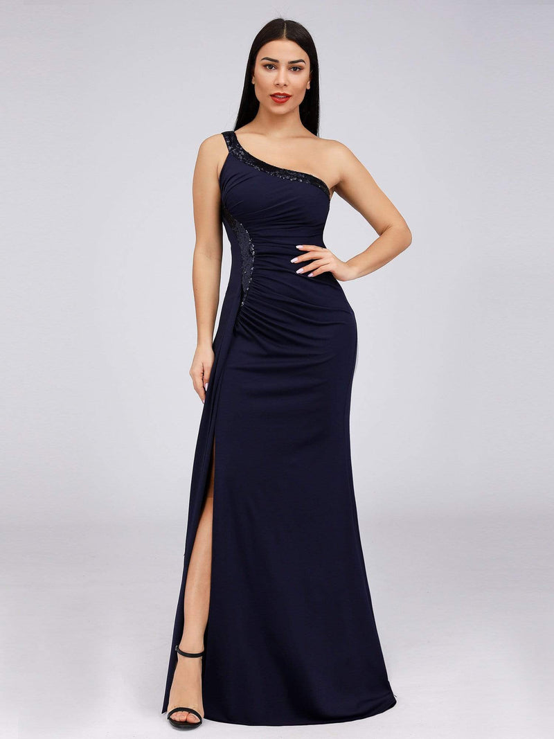 Women'S One Shoulder Side Split Sequin Dress Evening Dress-Navy Blue 1
